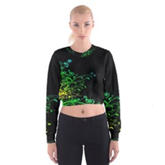 Abstract Colorful Plants Cropped Sweatshirt