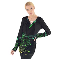 Abstract Colorful Plants Women s Tie Up Tee