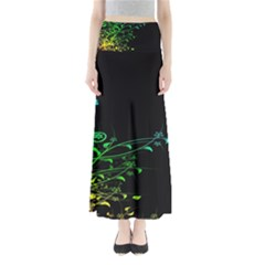 Abstract Colorful Plants Full Length Maxi Skirt