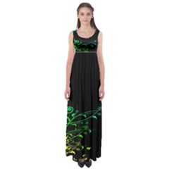 Abstract Colorful Plants Empire Waist Maxi Dress