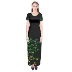 Abstract Colorful Plants Short Sleeve Maxi Dress