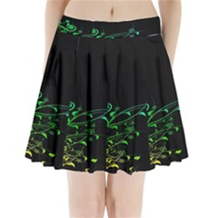Abstract Colorful Plants Pleated Mini Skirt