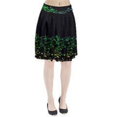 Abstract Colorful Plants Pleated Skirt