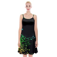Abstract Colorful Plants Spaghetti Strap Velvet Dress