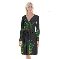 Abstract Colorful Plants Long Sleeve Velvet Front Wrap Dress
