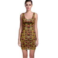Angels In Gold And Flowers Of Paradise Rocks Sleeveless Bodycon Dress