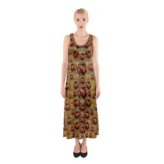 Angels In Gold And Flowers Of Paradise Rocks Sleeveless Maxi Dress