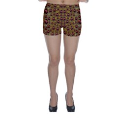 Angels In Gold And Flowers Of Paradise Rocks Skinny Shorts