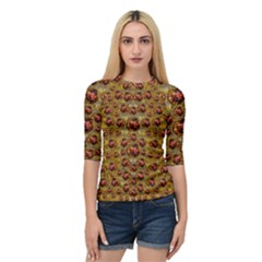 Angels In Gold And Flowers Of Paradise Rocks Quarter Sleeve Tee