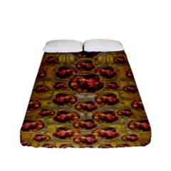Angels In Gold And Flowers Of Paradise Rocks Fitted Sheet (Full/ Double Size)