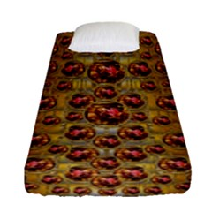 Angels In Gold And Flowers Of Paradise Rocks Fitted Sheet (Single Size)