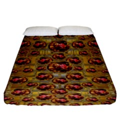 Angels In Gold And Flowers Of Paradise Rocks Fitted Sheet (King Size)