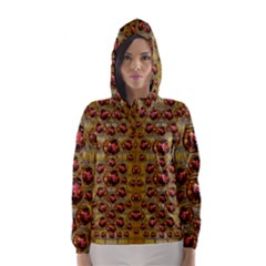 Angels In Gold And Flowers Of Paradise Rocks Hooded Wind Breaker (Women)