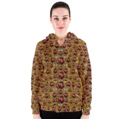 Angels In Gold And Flowers Of Paradise Rocks Women s Zipper Hoodie