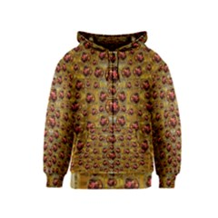 Angels In Gold And Flowers Of Paradise Rocks Kids  Zipper Hoodie