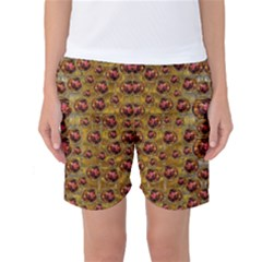 Angels In Gold And Flowers Of Paradise Rocks Women s Basketball Shorts