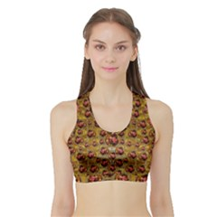Angels In Gold And Flowers Of Paradise Rocks Sports Bra with Border