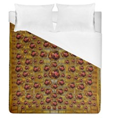 Angels In Gold And Flowers Of Paradise Rocks Duvet Cover (Queen Size)