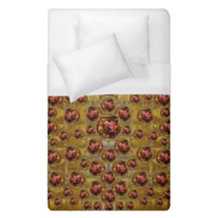 Angels In Gold And Flowers Of Paradise Rocks Duvet Cover (Single Size)
