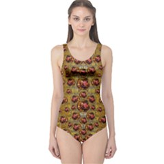Angels In Gold And Flowers Of Paradise Rocks One Piece Swimsuit