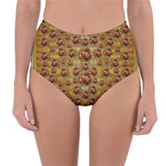 Angels In Gold And Flowers Of Paradise Rocks Reversible High-Waist Bikini Bottoms