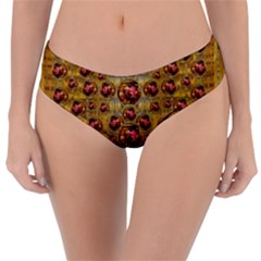 Angels In Gold And Flowers Of Paradise Rocks Reversible Classic Bikini Bottoms