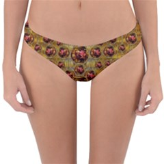 Angels In Gold And Flowers Of Paradise Rocks Reversible Hipster Bikini Bottoms