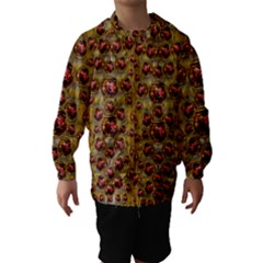 Angels In Gold And Flowers Of Paradise Rocks Hooded Wind Breaker (Kids)