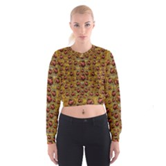 Angels In Gold And Flowers Of Paradise Rocks Cropped Sweatshirt