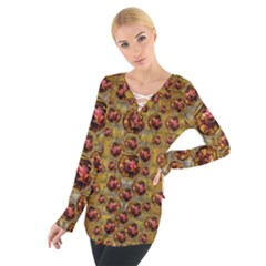 Angels In Gold And Flowers Of Paradise Rocks Women s Tie Up Tee