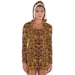Angels In Gold And Flowers Of Paradise Rocks Women s Long Sleeve Hooded T-shirt