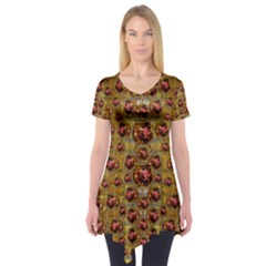 Angels In Gold And Flowers Of Paradise Rocks Short Sleeve Tunic