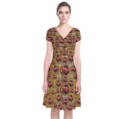 Angels In Gold And Flowers Of Paradise Rocks Short Sleeve Front Wrap Dress