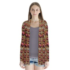 Angels In Gold And Flowers Of Paradise Rocks Drape Collar Cardigan