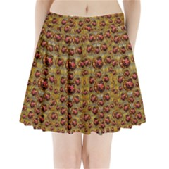 Angels In Gold And Flowers Of Paradise Rocks Pleated Mini Skirt