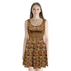 Angels In Gold And Flowers Of Paradise Rocks Split Back Mini Dress