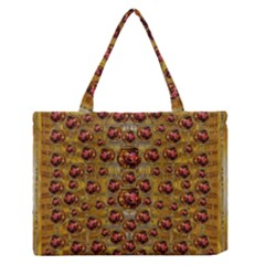 Angels In Gold And Flowers Of Paradise Rocks Medium Zipper Tote Bag