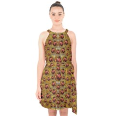 Angels In Gold And Flowers Of Paradise Rocks Halter Collar Waist Tie Chiffon Dress