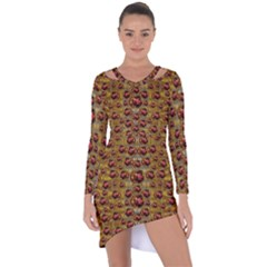 Angels In Gold And Flowers Of Paradise Rocks Asymmetric Cut-Out Shift Dress