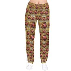 Angels In Gold And Flowers Of Paradise Rocks Drawstring Pants