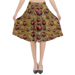 Angels In Gold And Flowers Of Paradise Rocks Flared Midi Skirt