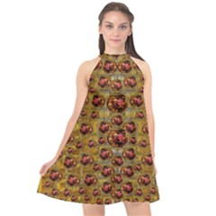 Angels In Gold And Flowers Of Paradise Rocks Halter Neckline Chiffon Dress