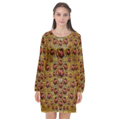 Angels In Gold And Flowers Of Paradise Rocks Long Sleeve Chiffon Shift Dress