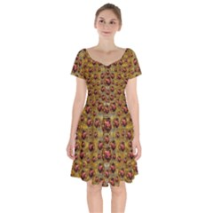 Angels In Gold And Flowers Of Paradise Rocks Short Sleeve Bardot Dress