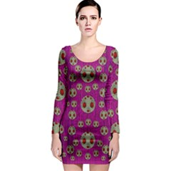 Ladybug In The Forest Of Fantasy Long Sleeve Bodycon Dress