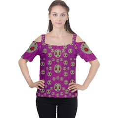 Ladybug In The Forest Of Fantasy Women s Cutout Shoulder Tee