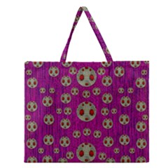 Ladybug In The Forest Of Fantasy Zipper Large Tote Bag