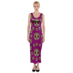 Ladybug In The Forest Of Fantasy Fitted Maxi Dress