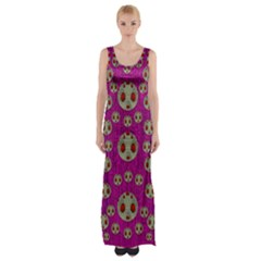 Ladybug In The Forest Of Fantasy Maxi Thigh Split Dress