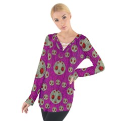Ladybug In The Forest Of Fantasy Women s Tie Up Tee